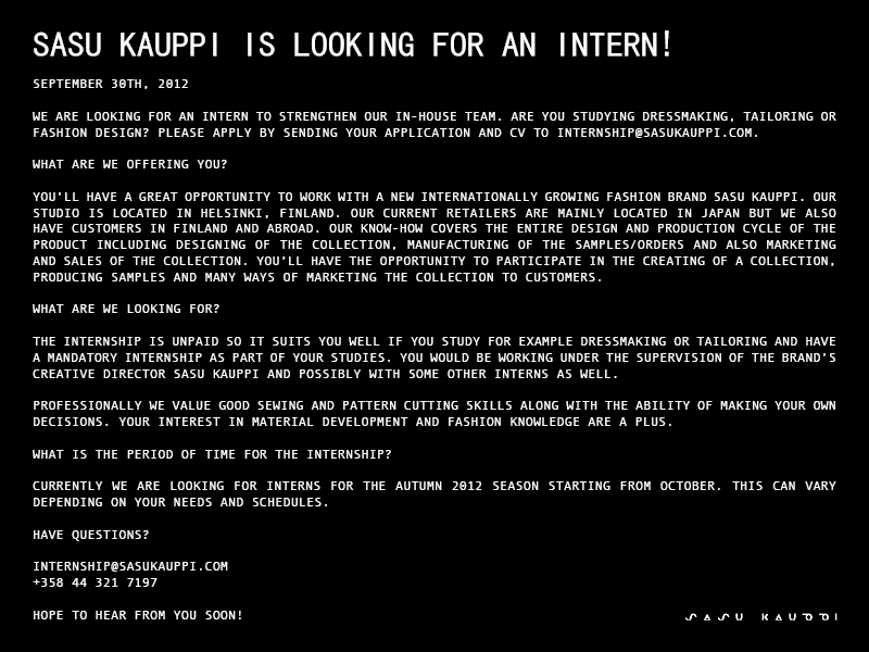 SASU KAUPPI IS LOOKING FOR AN INTERN!